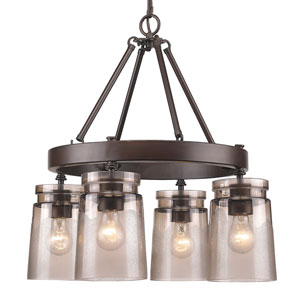 Travers Rubbed Bronze Four-Light Chandelier