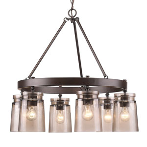 Travers Rubbed Bronze Six-Light Chandelier