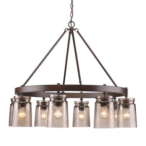 Travers Rubbed Bronze Eight-Light Chandelier