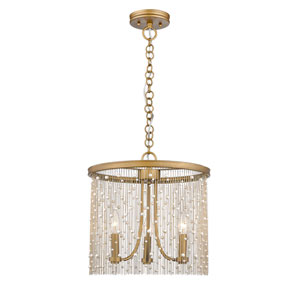 Marilyn Peruvian Gold 15-Inch Three-Light Pendant with Pearl Strands
