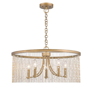 Marilyn Peruvian Gold 25-Inch Five-Light Chandelier with Pearl Strands