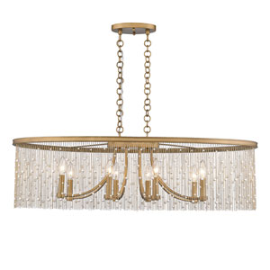 Marilyn Peruvian Gold 38-Inch Eight-Light Linear Pendant with Pearl Strands