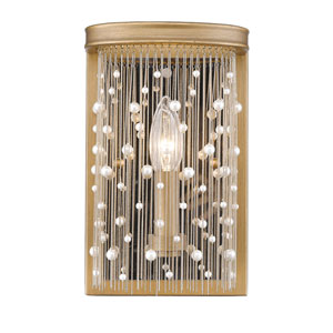 Marilyn Peruvian Gold 6-Inch One-Light Wall Sconce with Pearl Strands