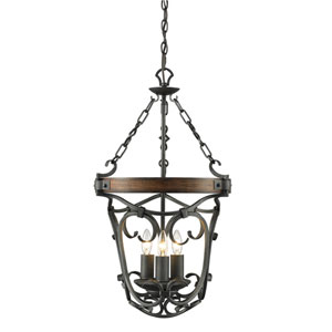 Madera Black Iron Three Light Pendant