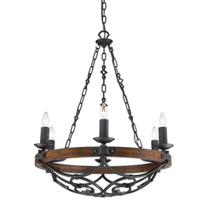 Madera Black Iron Six Light Chandelier