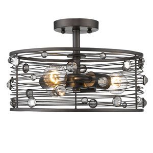 Bijoux Brushed Etruscan Bronze 14-Inch Three-Light Semi-Flush Mount
