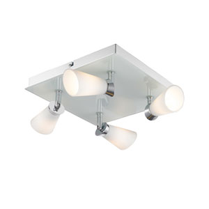 Opera Chrome Four-Light Flush Mount Spotlight with Cased Opal Glass