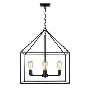 Wesson Black 21-Inch Four-Light Chandelier