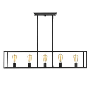 Wesson Black 41-Inch Five-Light Linear Pendant