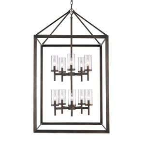 Smyth Gunmetal Bronze 10-Light Pendant with Clear Glass
