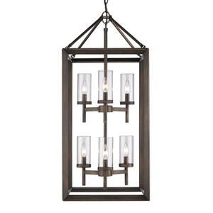 Smyth Gunmetal Bronze Six-Light Pendant with Clear Glass