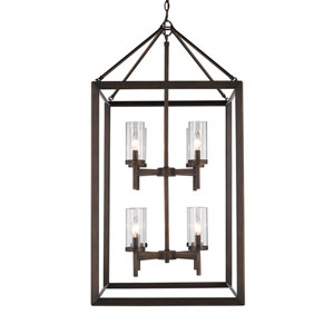 Smyth Gunmetal Bronze Eight-Light Pendant with Clear Glass