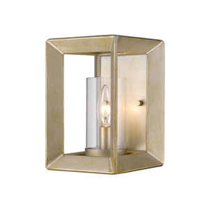 Smyth White Gold One-Light Wall Sconce with Clear Glass Shade