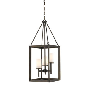 Smyth Gunmetal Bronze Three-Light Pendant with Opal Glass Shade