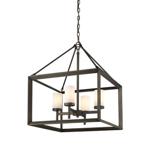 Smyth Gunmetal Bronze Four-Light Chandelier with Opal Glass Shade