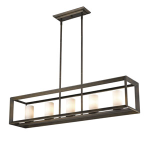 Smyth Gunmetal Bronze Five-Light Pendant with Opal Glass Shade