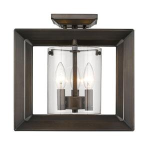 Smyth Gunmetal Bronze 12-Inch Three-Light Semi-Flush Mount with Clear Glass