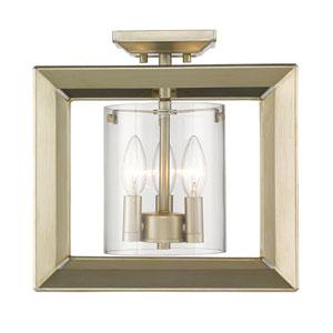 Smyth White Gold 12-Inch Three-Light Semi-Flush Mount with Opal Glass