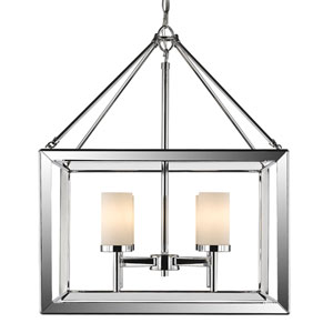 Smyth Chrome Four-Light Chandelier with Opal Glass