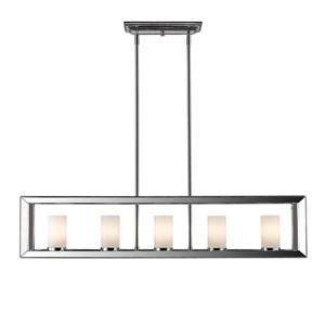 Smyth Chrome Five-Light Linear Pendant with Opal Glass