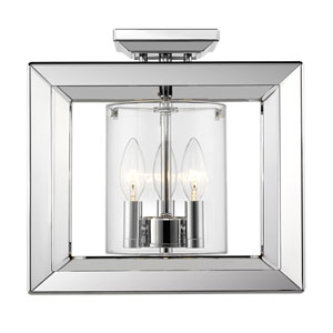 Smyth Chrome 12-Inch Three-Light Semi-Flush Mount with Clear Glass