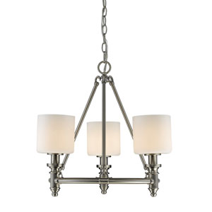 Beckford Pewter Three-Light Chandelier with Opal Glass