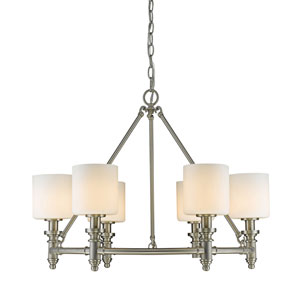 Beckford Pewter Six-Light Chandelier with Opal Glass