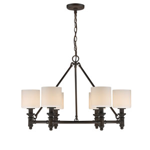 Beckford Rubbed Bronze Six-Light Chandelier with Opal Glass