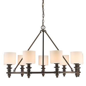Beckford Rubbed Bronze Nine-Light Chandelier with Opal Glass