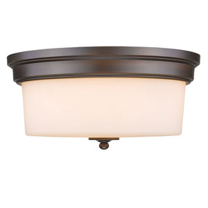 Rubbed Bronze Three-Light Flush Mount