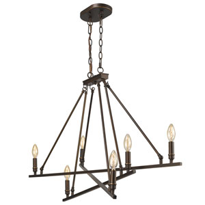 Garvin Rubbed Bronze Six-Light Linear Pendant