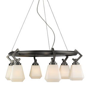 Hollis Aged Steel 29-Inch Six-Light Chandelier with Opal Glass