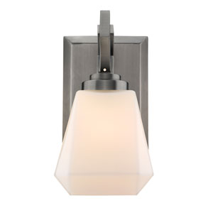Hollis Aged Steel 5-Inch One-Light Bath Vanity with Opal Glass