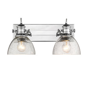 Hines Chrome 18-Inch Two-Light Bath Vanity with Seeded Glass