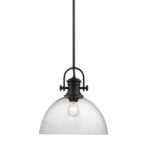 Hines Black 14-Inch One-Light Pendant with Seeded Glass