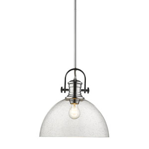 Hines Chrome 14-Inch One-Light Pendant with Seeded Glass