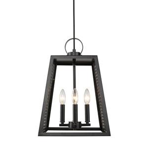 Abbott Black 12-Inch Four-Light Pendant with Black Mesh Panels