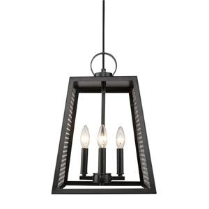 Abbott Black 12-Inch Four-Light Pendant with Chrome Mesh Panels