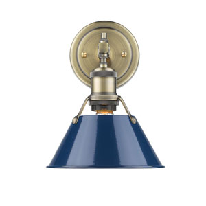 Orwell Aged Brass One-Light Bath Vanity with Navy Blue Shade