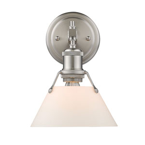 Orwell Pewter One-Light Bath Vanity with Opal Glass Shade