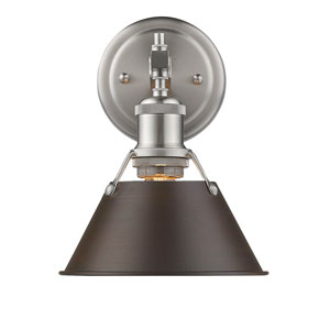 Orwell Pewter One-Light Bath Vanity with Rubbed Bronze Shade