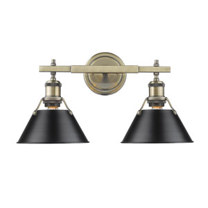 Orwell Aged Brass Two-Light Bath Vanity with Black Shades