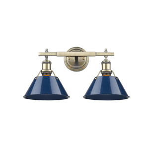 Orwell Aged Brass Two-Light Bath Vanity with Navy Blue Shades