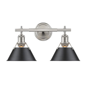 Orwell Pewter Two-Light Bath Vanity with Black Shades