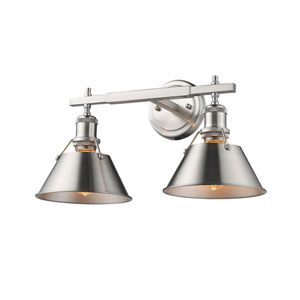 Orwell Pewter Two-Light Bath Vanity with Pewter Shades