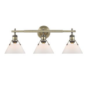 Orwell Aged Brass Three-Light Bath Vanity with Opal Glass Shades