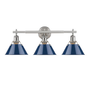 Orwell Pewter Three-Light Bath Vanity with Navy Blue Shade