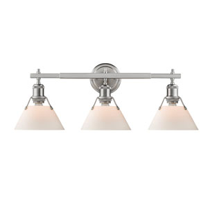 Orwell Pewter Three-Light Bath Vanity with Opal Glass Shades