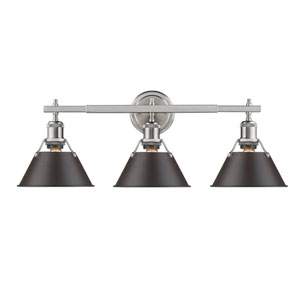 Orwell Pewter Three-Light Bath Vanity with Rubbed Bronze Shade