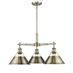 Orwell Aged Brass Three-Light Nook Chandelier with Aged Brass Shades